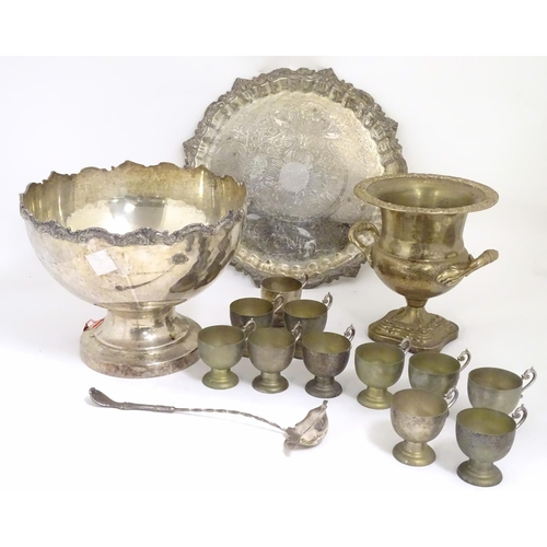 499 - Assorted silver plated wares comprising a large silver plate tray, punch bowl, 11 punch cups, ladle ...