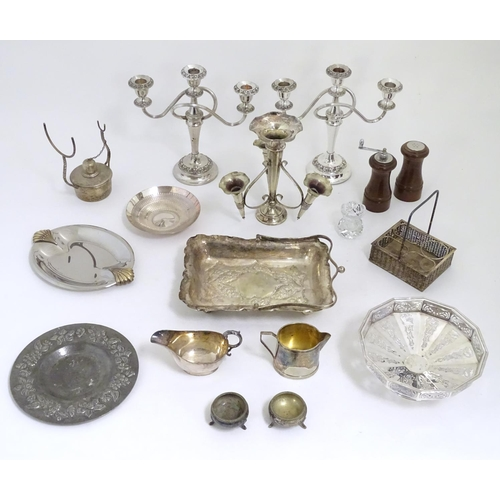 501 - A quantity of assorted silver plate wares etc to include epergne, three branch candelabra, tazza, sa...