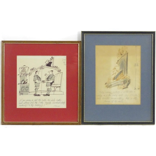 1770 - Kenneth Mahood, 20th century, Pen and coloured pencil political cartoon, 'Before passing statement, ...