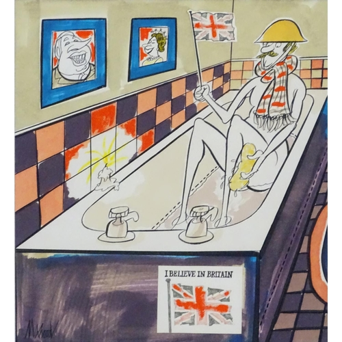 1771 - Kenneth Mahood, 20th century, Pen, ink and watercolour political cartoon, 'I Believe in Britain', De...