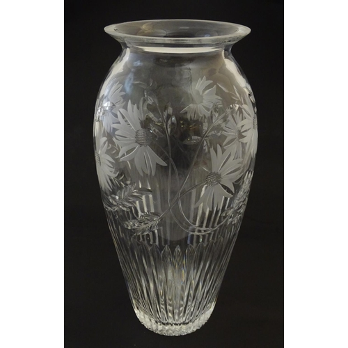 193 - A cut glass / crystal vase with etched floral decoration 12