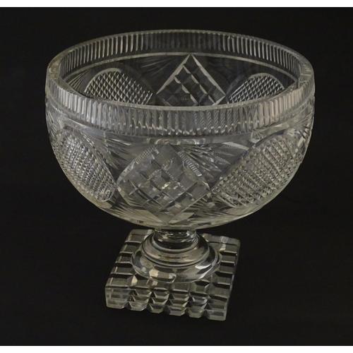 197 - A cut glass / crystal pedestal bowl. Possibly Irish. 7 3/4