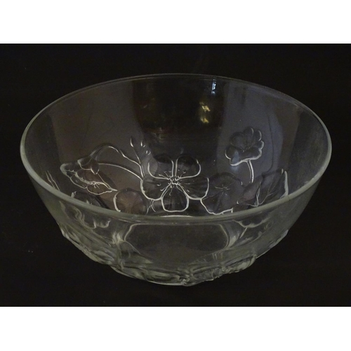 206 - An art glass vase of stylised Calla Lilly flower form together with a French glass bowl with floral ...