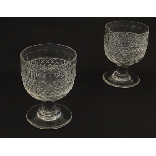 210 - 6 19thC pedestal drinking glasses / rummers with hobnail cut decoration. Approx 4 3/4