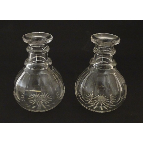 223 - A pair of small carafes / decanters. approx. 6