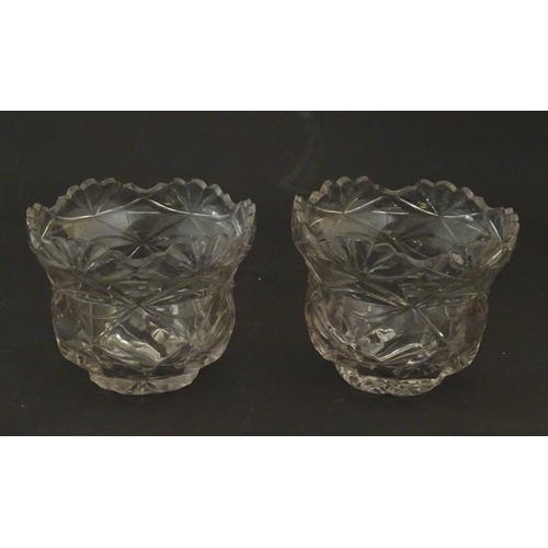 224 - A pair of cut glass bon bon bowls / epergne bowls. 3