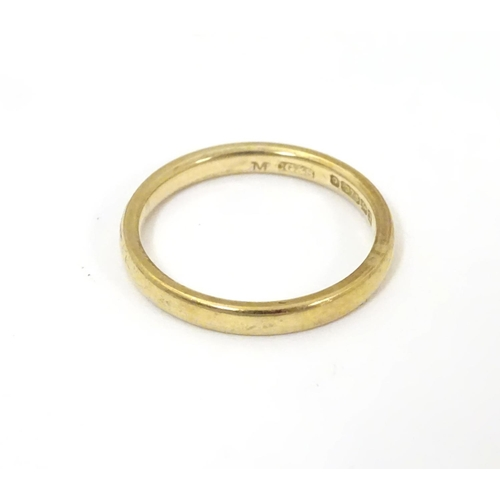 510 - A 9ct gold ring of band form ( approx 2.1g) Ring size approx L 1/2