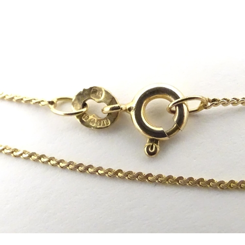 540 - A 9ct gold pendant on chain approx. 14