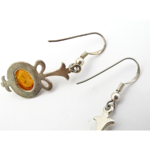 575 - Assorted silver and white metal jewellery set with amber coloured cabochons etc