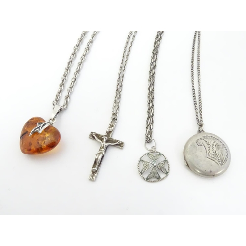578 - Assorted silver and white metal pedants and chains including pendants formed as a crucifix, locket, ...