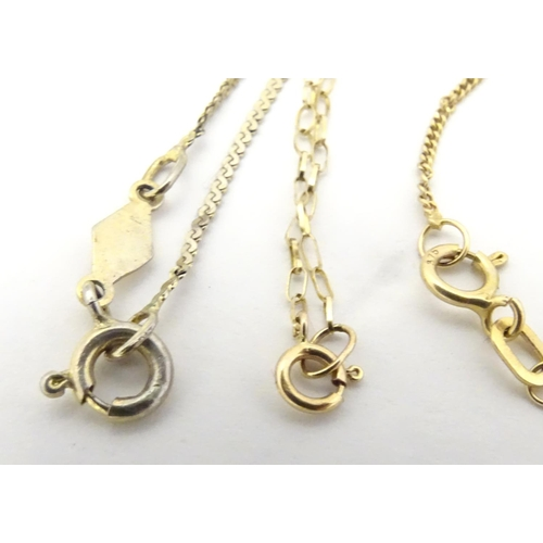 585 - Assorted silver, gold and gilt metal jewellery including a silver gilt bracelet, A 9ct gold chain br...