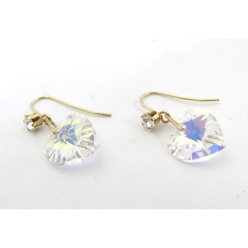 602 - 9ct gold drop earrings set with cubic zirconia 1/2