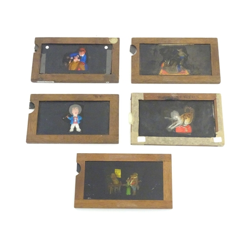 1127 - Five Victorian hand painted magic lantern slipper slides with wooden mounts. Depicting tooth pulling...