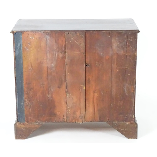 1382 - A late 18thC / early 19thC mahogany chest of drawers with a moulded rectangular top above three long...