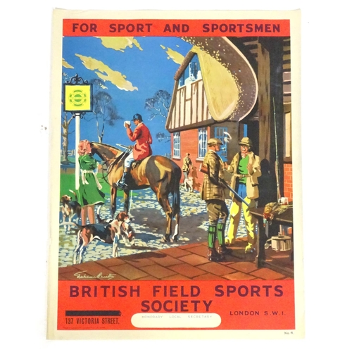 1981 - A British Field Sports Society poster For Sport and Sportsmen. Depicting a country pub scene with a ...