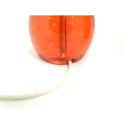 906A - A pair of Retro table lamps with orange resin bases chrome fittings and resin / celluloid screw atta...