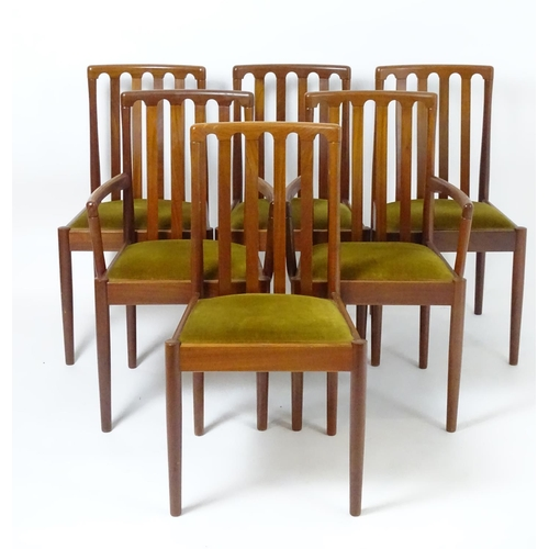 1574 - Vintage retro, mid-century: a set of 6 (4+2) teak upholstered dining chairs, each 35