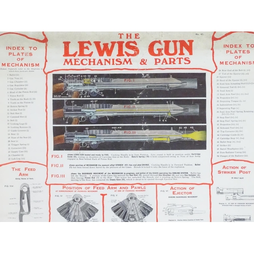 660 - Militaria: an early 20thC armoury poster, entitled The Lewis Gun Mechanism and Parts, with several c...