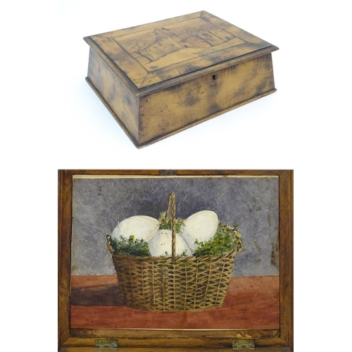 1077 - A 19thC Irish work box, the top with marquetry / parquetry inlay depicting a view of Ross Castle, Ki...