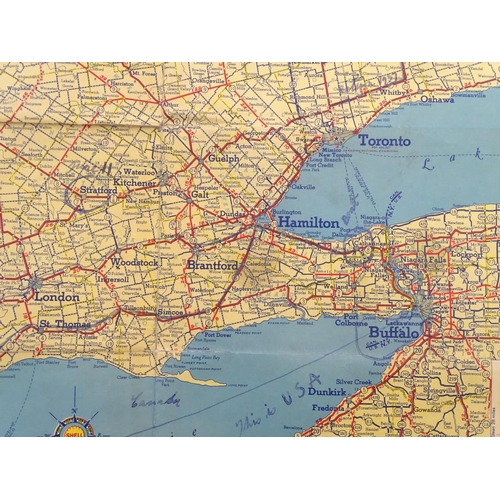 1353 - Vintage cars, motoring: an early to mid 20thC Shell map of Ontario, the reverse with maps of Western...