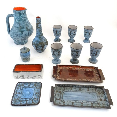 105A - A large quantity of French Alain Maunier Vallauris ceramic wares to include jugs, vases, goblets / c...
