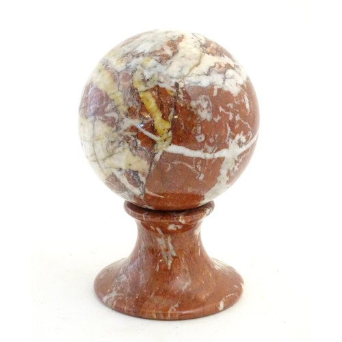 1078A - A large marble sphere on marble stand. The whole standing approx. 9 1/2