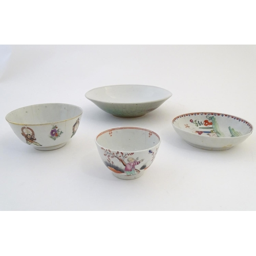 32 - Four assorted Oriental wares comprising, a tea bowl with figural decoration, a tea bowl depicting a ...