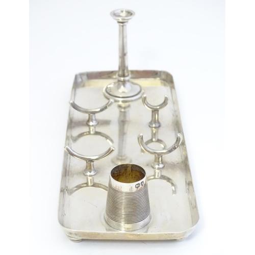316 - A Victorian silver desk stand hallmarked with vesta, taper stick etc London 1894 maker Hukin & Heath...