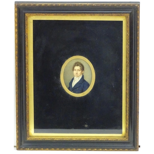 1014 - An early 19thC oval watercolour and body colour portrait miniature depicting Samuel Aspinwall Goddar...