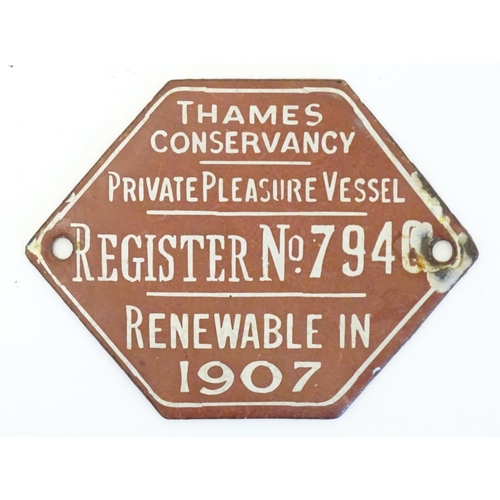 1117 - Four assorted enamel plaques / licence / registration plaques issued by Thames Conservancy, to inclu...
