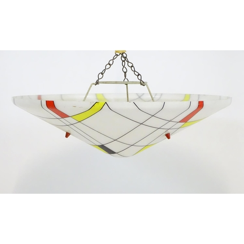 1591 - Vintage retro, Midcentury : a perspex pendant lamp / light shade, decorated with a Piet Mondrian ins...