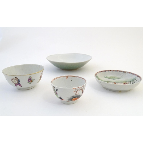 36 - Four assorted Oriental wares comprising, a tea bowl with figural decoration, a tea bowl depicting a ...