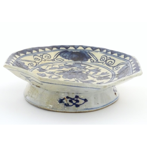 16 - An Oriental blue and white footed dish, the octagonal top decorated with floral and foliate detail. ...