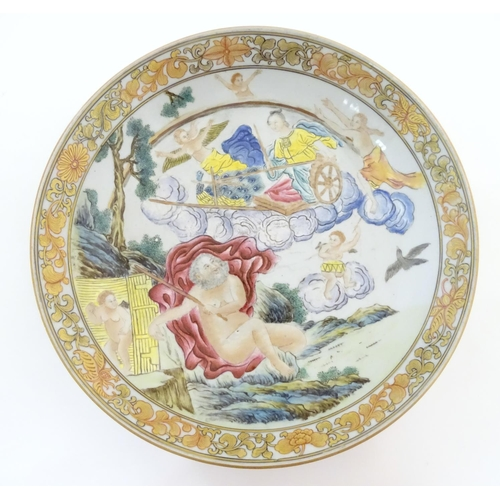 25 - A Chinese export plate depicting a mythological landscape scene with a woman in a chariot, possibly ...