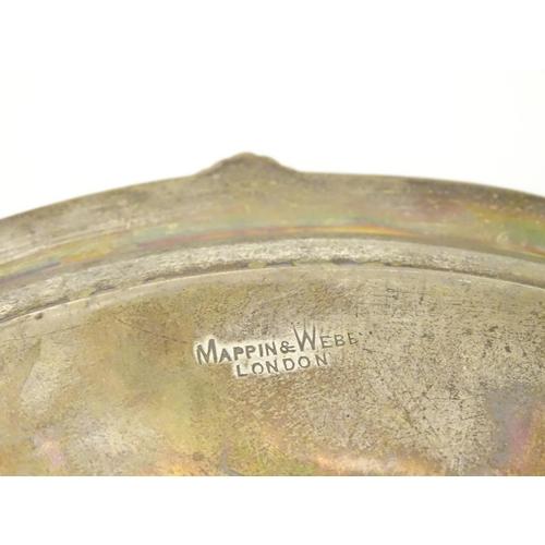417 - A silver salver hallmarked Sheffield 1908 maker Mappin & Webb Ltd.   10 3/4