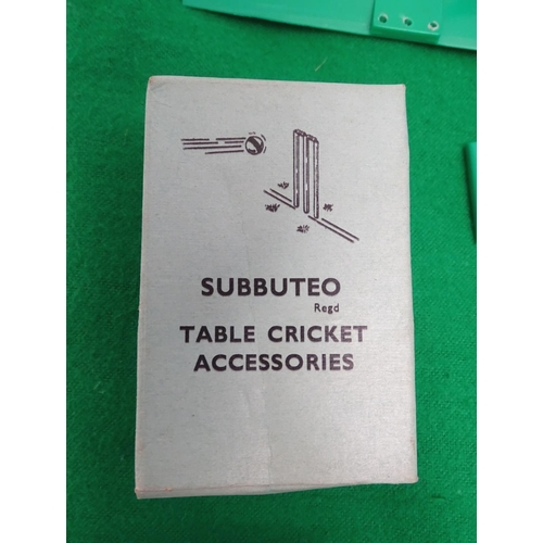 2097 - Toys: A 20thC boxed Subbuteo table cricket set (Display Edition) with felt pitch, figures including ...