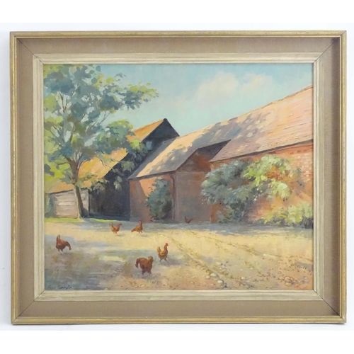 """Roger Remington, 20th century, Oil on board, A Barn in Surrey, Chickens in a barnyard. Signed lower left. Approx. 20"""" x 23 1/2"""""""