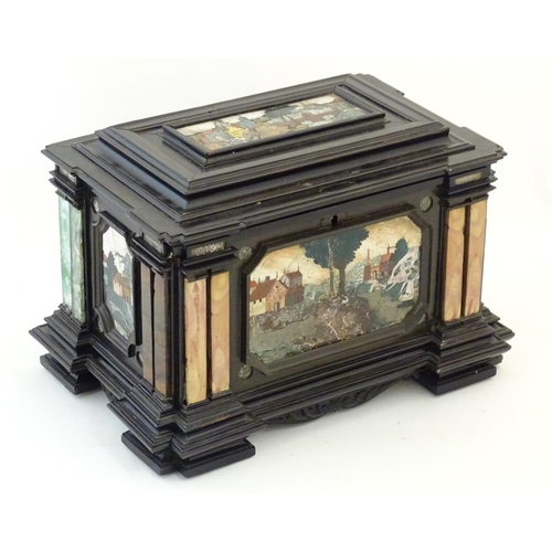 """A 19thC Italian Grand Tour table cabinet / casket box of exceptionally large form with specimen marble inlay and pietra dura landscape scenes with buildings, church spires and bridges. Approx. 10 1/4"""" x 15 1/2"""" x 10 1/2"""""""