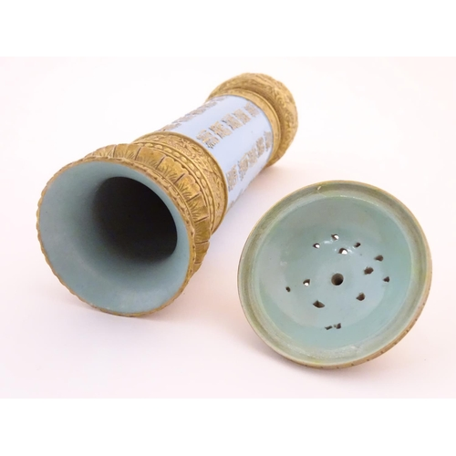 25 - A Chinese incense burner / stick holder / stand of cylindrical form. Decorated with Oriental script ...