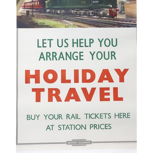 1352 - A mid 20thC British Railways advertising poster depicting a green British Rail Class 40 D209 Locomot...