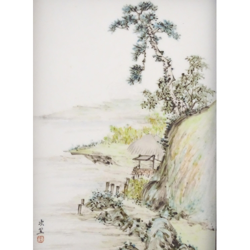 33A - A Chinese porcelain plaque decorated with a coastal scene. Character marks lower left. Approx. 9 1/4...