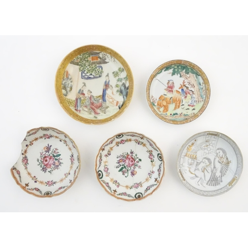 42A - A quantity of assorted Chinese tea bowls, wine cups and saucers. Saucer decoration to include a figu...