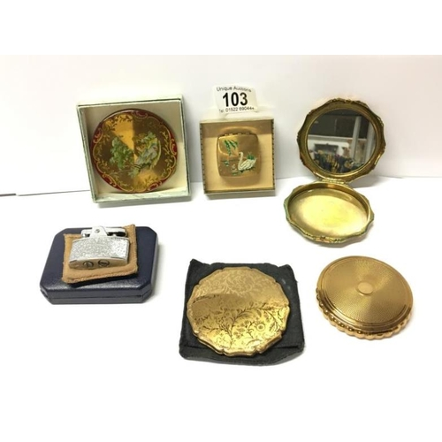 103 - A mixed lot of compacts and a Ronson lighter in original box...