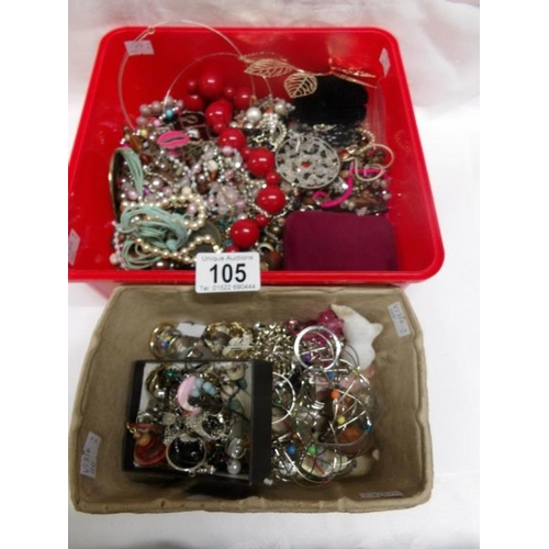 105 - 2 boxes of costume jewellery...