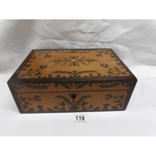 119 - A Victorian mahogany inlaid jewellery box...