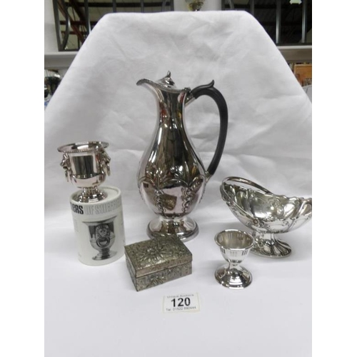 120 - A silver plate coffee pot and 4 other plated items...