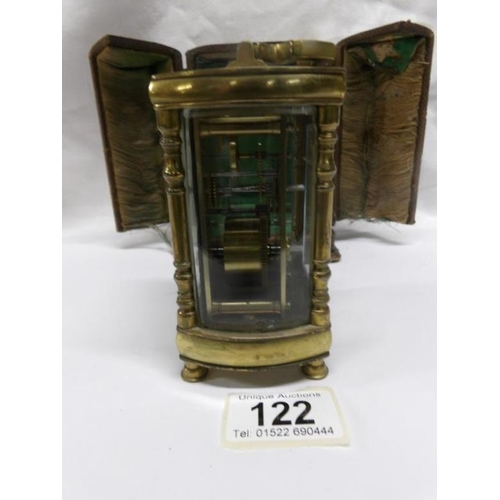 122 - A brass carriage clock in original case...