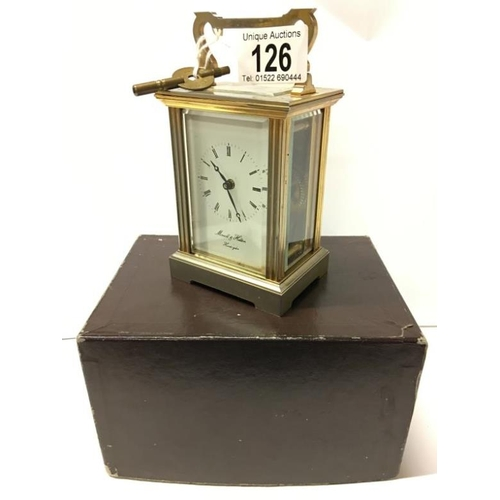 126 - A brass carriage clock in original box marked Morrell & Hilton, Huntingdon, (Overwound)...