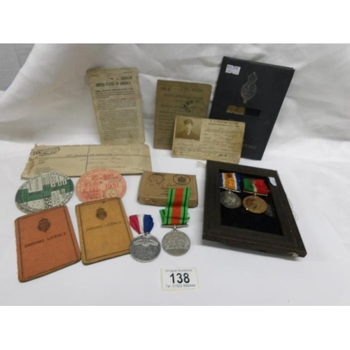 138 - A 1914-18 war medal and mercantile marine medal awarded to Adam C Smith along with personal papers i...