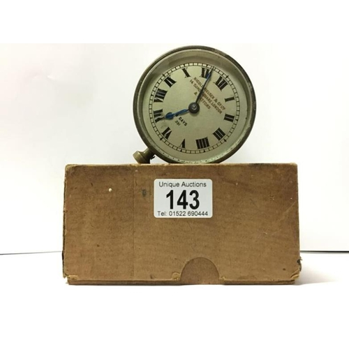 143 - A 1920's Nicole Nielsen & Co., Ltd., 14, Soho Square, London and Watford 8 day brass car clock...